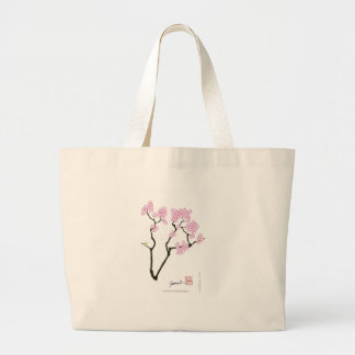 Bolsa Tote Grande pássaro branco do olho da flor de sakura,
