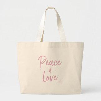 Bolsa Tote Grande Paz-e-Amor-Cor-de-rosa