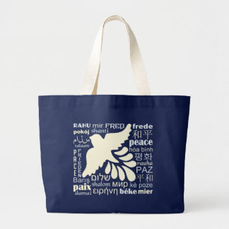 Bolsa Tote Grande PAZ em muitas sacolas das línguas