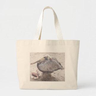 Bolsa Tote Grande Pelicano puro com Shell
