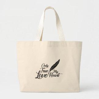 Bolsa Tote Grande Pena verdadeira do amor da ilustração
