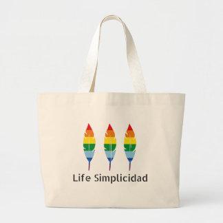 Bolsa Tote Grande Penas do arco-íris de Simplicidad da vida