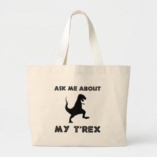 Bolsa Tote Grande Pergunte-me sobre T Rex engraçado