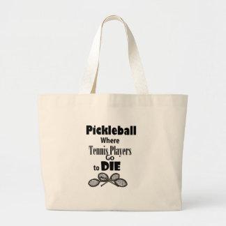 Bolsa Tote Grande Pickleball engraçado aonde os jogadores de ténis