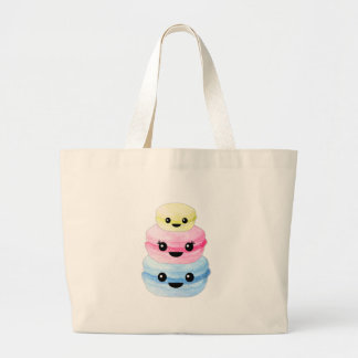 Bolsa Tote Grande Pilha bonito de Kawaii Macaron
