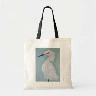 Bolsa Tote Grande pintura branca das belas artes do Egret