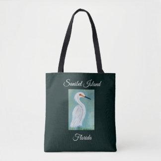 Bolsa Tote Grande pintura branca do Egret - belas artes de