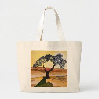Bolsa Tote Grande Pintura de paisagem amarela da árvore da parte