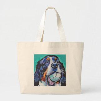 Bolsa Tote Grande Pintura do pop art do cão de montanha de Bernese