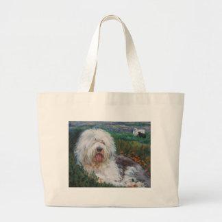 Bolsa Tote Grande Pintura inglesa velha bonita da arte do cão do