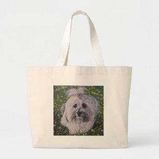 Bolsa Tote Grande Pintura realística bonita da arte do cão de