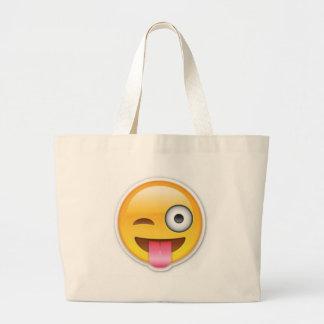 Bolsa Tote Grande Piscar os olhos insolente do emoji do smiley