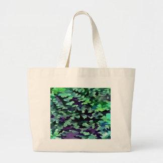 Bolsa Tote Grande Pop art abstrato da folha no verde e no roxo de