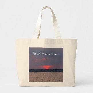 Bolsa Tote Grande Por do sol sobre a sacola da água