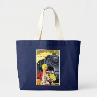 Bolsa Tote Grande Poster alemão do anúncio do viagem do trem do