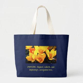 Bolsa Tote Grande prazer do daffodil, DAFFODIL: Consideração,