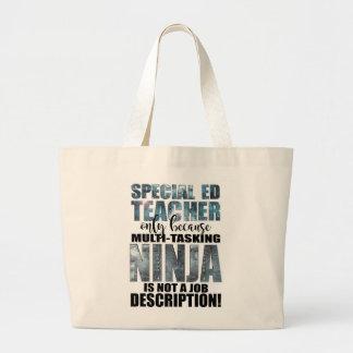 Bolsa Tote Grande Professor super de Ninja do ensino especial