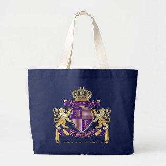 Bolsa Tote Grande Protetor dourado do leão do emblema do monograma