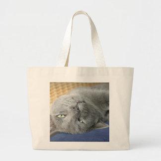 Bolsa Tote Grande Relaxe! Grande sacola de ronrom cinzenta do gato