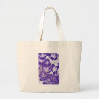 Bolsa Tote Grande Remendo da flor do açafrão da lavanda