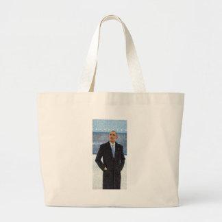 Bolsa Tote Grande Retrato abstrato do presidente Barack Obama 10a.jp