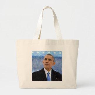 Bolsa Tote Grande Retrato abstrato do presidente Barack Obama 30x30
