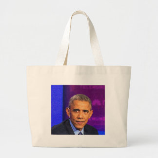 Bolsa Tote Grande Retrato abstrato do presidente Barack Obama 8