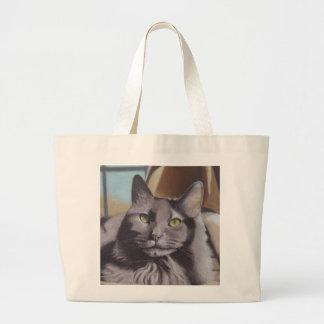 Bolsa Tote Grande Retrato cinzento do animal de estimação do gato