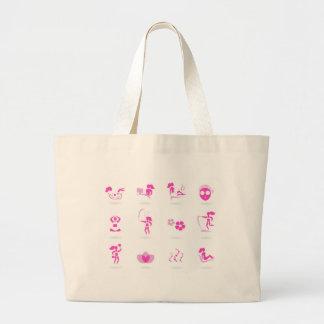 Bolsa Tote Grande Rosa dos ícones do bem-estar