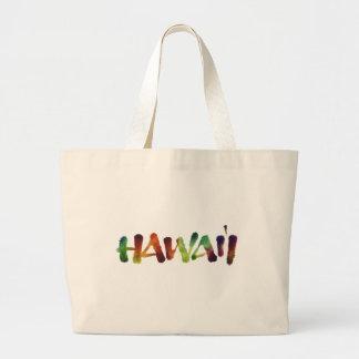 Bolsa Tote Grande Rotulação de Hawai'i - divertimento colorido da