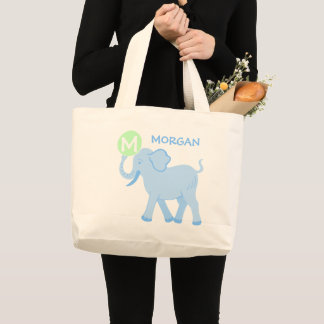 Bolsa Tote Grande Saco bonito da fralda do elefante do bebé azul do
