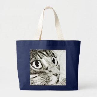 Bolsa Tote Grande Saco da arte da fantasia do gato de gato malhado