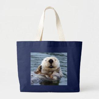 Bolsa Tote Grande Saco da extra grande com a lontra de mar loura de