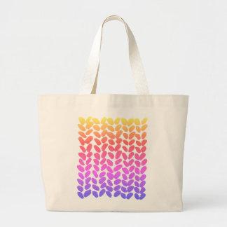 Bolsa Tote Grande Saco de confecção de malhas de Ombre do arco-íris