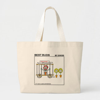 Bolsa Tote Grande Saco engraçado dos desenhos animados do jardim dos