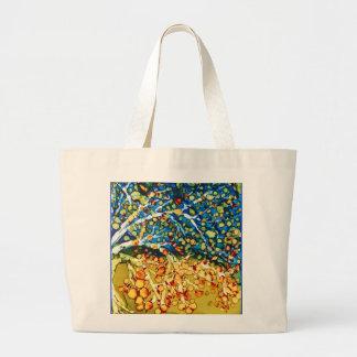 Bolsa Tote Grande sacola com arte multicolorido abstrata da árvore