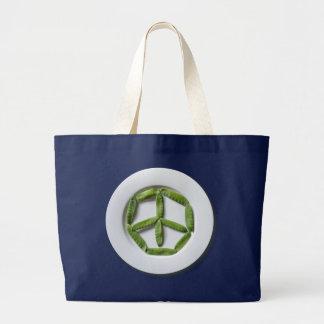 Bolsa Tote Grande Sacola do jumbo de Snowpeas da paz