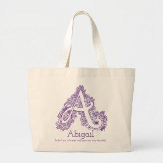 Bolsa Tote Grande Sacola do monograma do doodle de Abigail A