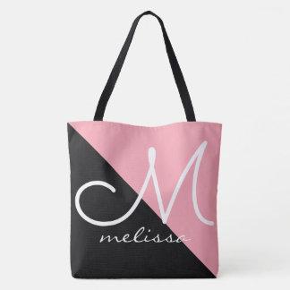 Bolsa Tote grande sacola do preto/rosa com nome