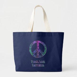 Bolsa Tote Grande Sacola do sinal de paz da felicidade do amor da