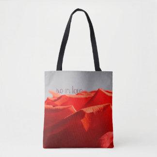 Bolsa Tote Grande sacola romântica da rosa vermelha