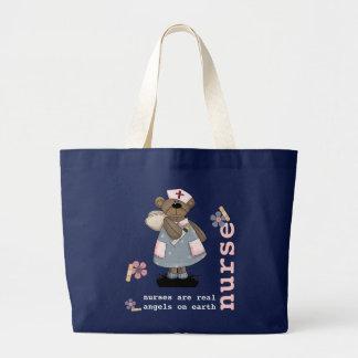 Bolsa Tote Grande Sacolas engraçadas do design da enfermeira do urso