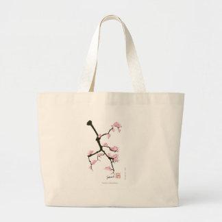 Bolsa Tote Grande sakura com os pássaros cor-de-rosa por fernandes