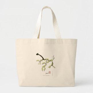 Bolsa Tote Grande sakura com pássaros verdes, fernandes tony
