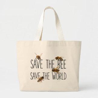 Bolsa Tote Grande Salvar a abelha! Salvar o mundo! Vive o design
