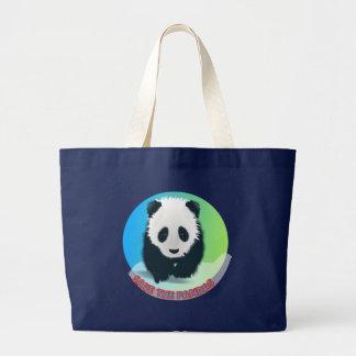 Bolsa Tote Grande Salvar as pandas. Urso de panda