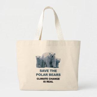 Bolsa Tote Grande Salvar os ursos polares