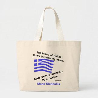 Bolsa Tote Grande Sangue grego de Hélade da bandeira e Ouzo e nome