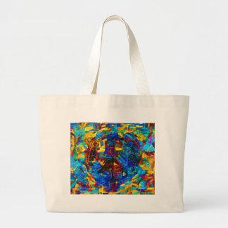 Bolsa Tote Grande Símbolo de paz colorido do mosaico