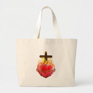 Bolsa Tote Grande Símbolo sagrado do cristão do coração